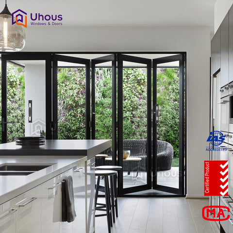 aluminium frames double glass accordion window cost on China WDMA