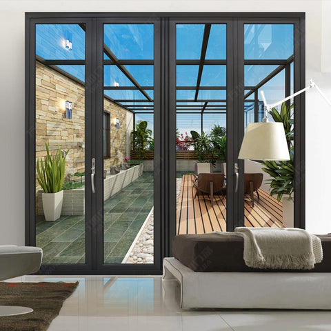 aluminum french patio folding/ bifold/ bi folding door on China WDMA