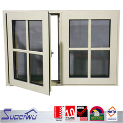 aluminum grill design double glazed fixed panel casement window and doors on China WDMA