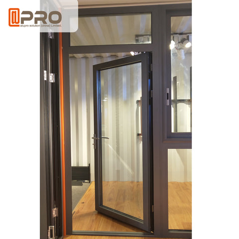 aluminum half glass french single hinged door price for sale on China WDMA