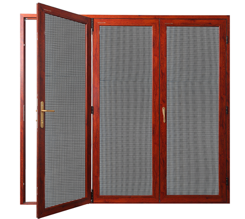 aluminum security screen door and window Bi-fold folding aluminum door with fly screen design for home balcony on China WDMA