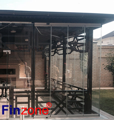 aluminum sliding window frameless glazing systems tempered glass interior frameless bifold door/ folding door without frame on China WDMA