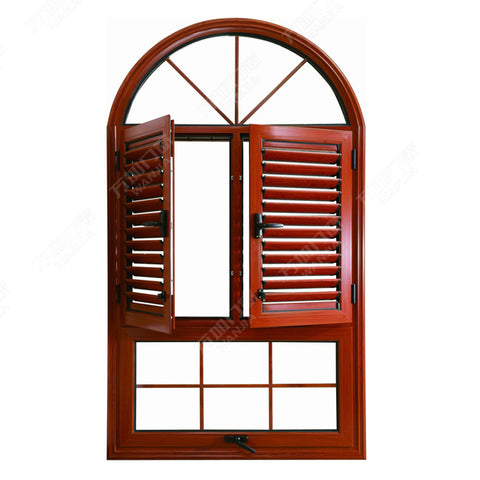 aluminum wooden color built-in windows with shutters on China WDMA
