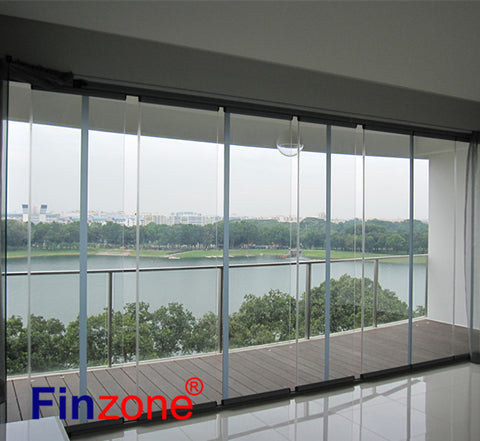 anti-theft glazed frameless exterior glass sliding doors on China WDMA