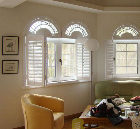 arch shape PVC plantaion window shutters on China WDMA