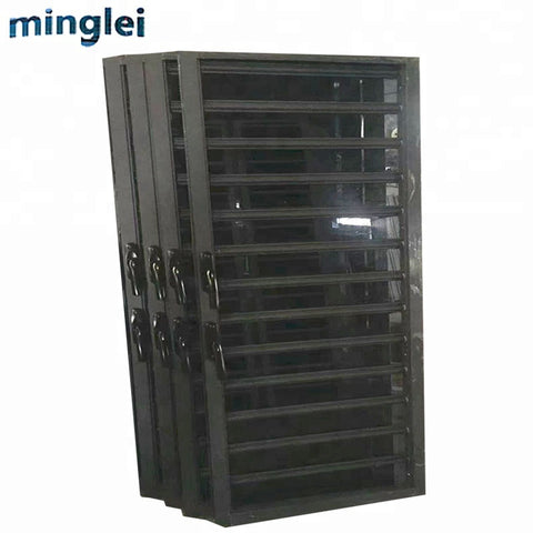 black aluminium double glazed Shutter windows Glass louvre window