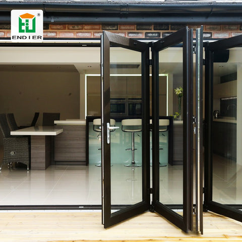 buy courtyard slim aluminium profile screen glass doors lowes glass folding sliding aluminium accordion single folding doors on China WDMA