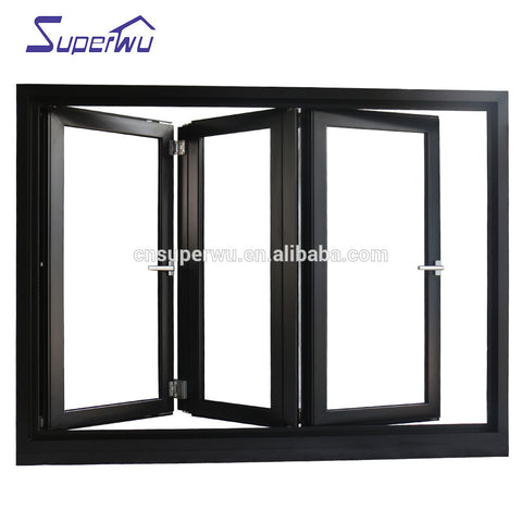 color black Cheap House Windows For Sale aluminum bi-fold window on China WDMA