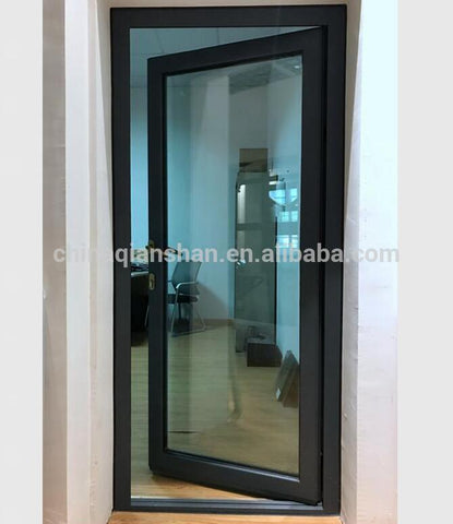construction single pane aluminium interior french frosted double tempered glass bathroom door casement swing door on China WDMA