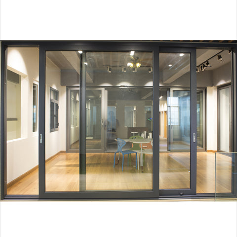 curved triple rail double glass stacking aluminium sliding doors and windows on China WDMA