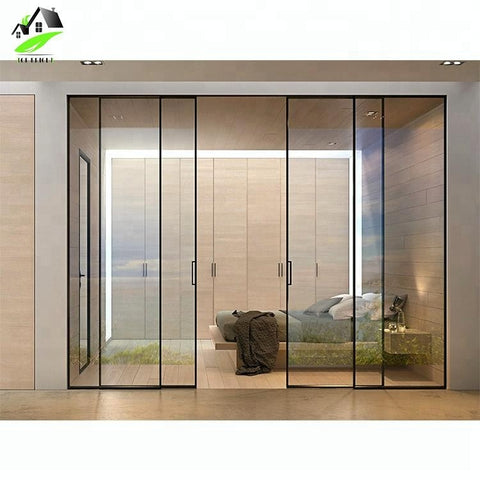 custom latest main designs narrow aluminium frame glass sliding stacking doors on China WDMA