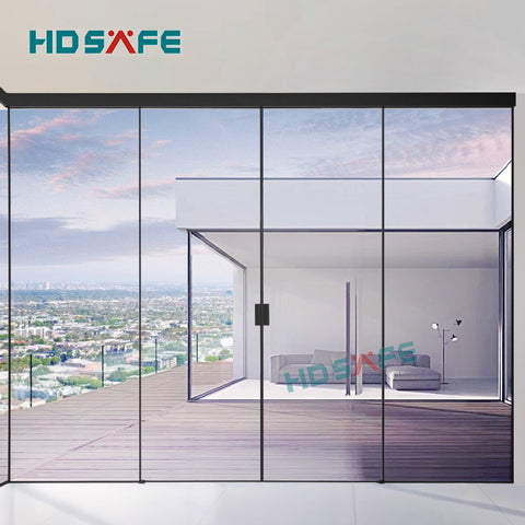 customized tempered glass soft closing black metal narrow frame synchronized sliding door on China WDMA