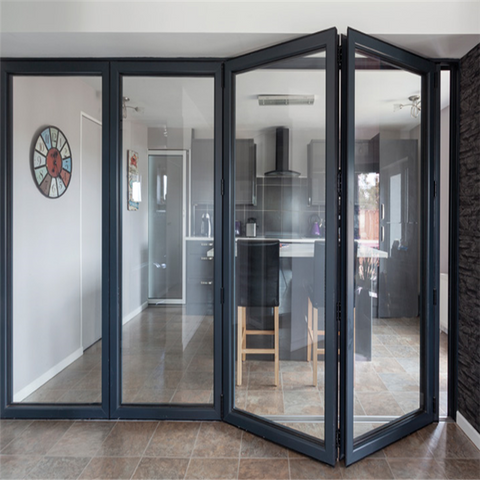 double glass folding exterior french doors modern aluminium soundproof vertical folding doors on China WDMA
