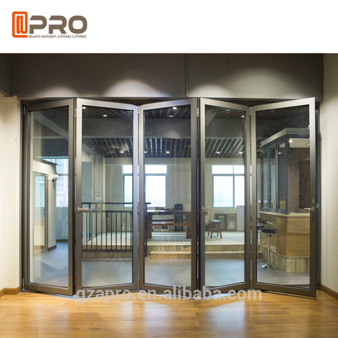 double glazed aluminium composite stacking glass door folding patio doors prices for container house on China WDMA