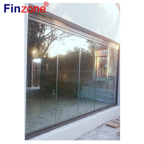 exterior frameless sliding folding glass doors transparent for apartment balcony on China WDMA