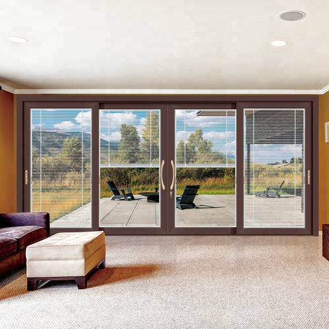 exterior french sliding glass patio doors with built in blinds between glass on China WDMA