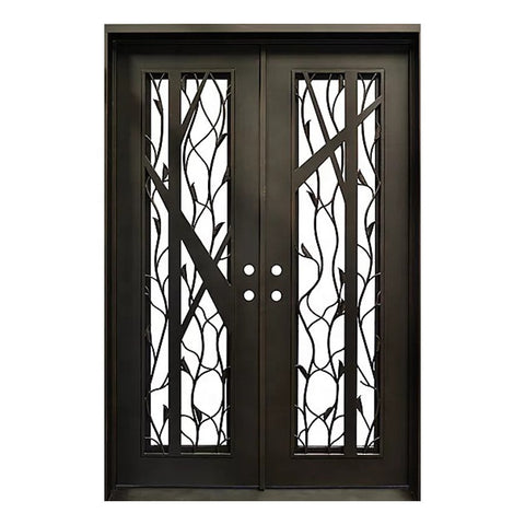 exterior safety front entry double glazed sliding swing iron glass wrought doors near me modern on China WDMA