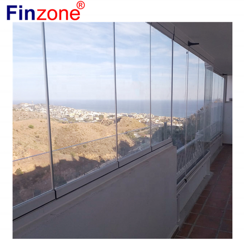exterior seperately open accordion frameless folding glass sliding door with aluminum profile on China WDMA