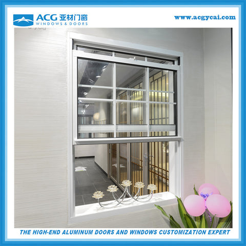 factory white aluminium double hung windows on China WDMA