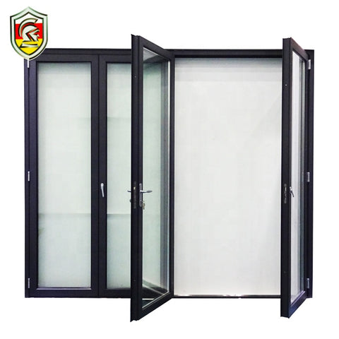 foshan custom heavy duty double glazed insulation accordion folding glass door on China WDMA