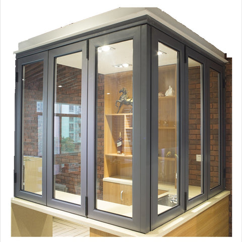 full-view kitchen sliding aluminum folding glass windows bi fold window on China WDMA