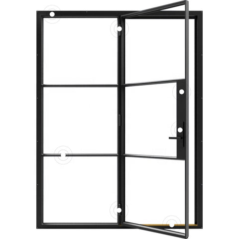 industrial modern design swing upvc glass doors metal frames reclaimed steel windows french factory style on China WDMA
