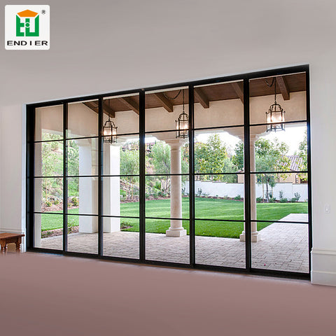 industrial trackless interior black Sliding French Doors aluminium 4 Panel Interior Doors Glass Patio sliding Doors on China WDMA