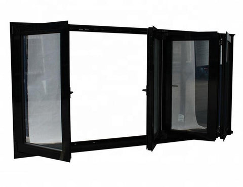latest modern design black powder coating color double glass aluminium folding window bifold windows for residential house