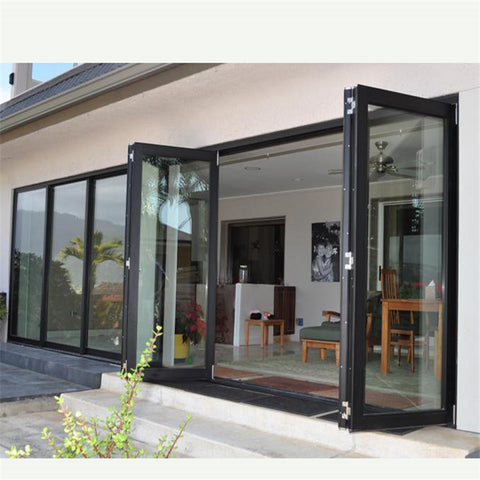 luxury modern soundproof exterior aluminum thermal break profile double glass bi-fold accordion screen stacking folding doors on China WDMA