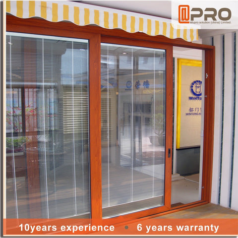 modern exterior doors aluminium framed sliding glass door with blinds on China WDMA