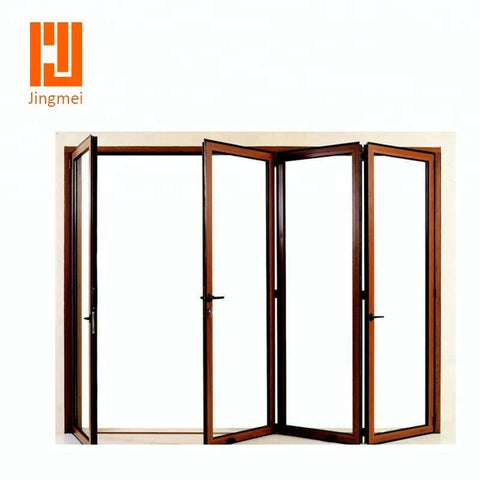 multi panels aluminum exterior bi folding patio doors on China WDMA
