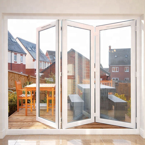new design Aluminum Glass Patio Exterior Bifold Doors Double Glazing Aluminum Bi Folding Door on China WDMA