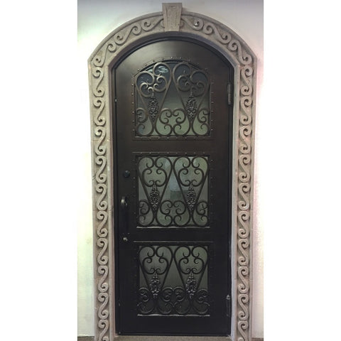 online wholesale full arched exterior screen american single rod iron front entry doors project small on China WDMA