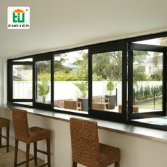 open yard black aluminum bi-fold windows industry aluminum frame ready made sliding and folding glass windows grill design india on China WDMA