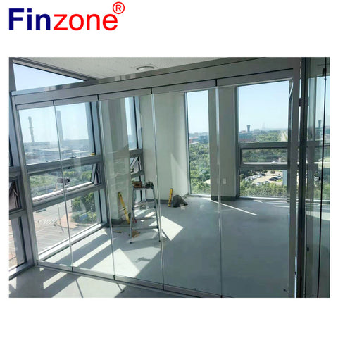 panoramic frameless folding sliding glass curtain door patio sunroom terrace commercial using with advanced design on China WDMA