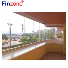 panoramic transparent clear view frameless balcony terrace patio glazing system sliding folding glass door for apartment sunroom on China WDMA