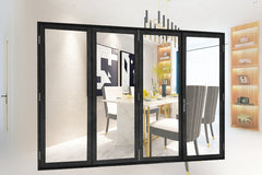 patio sliding large opening curve folding glass door cheap on China WDMA