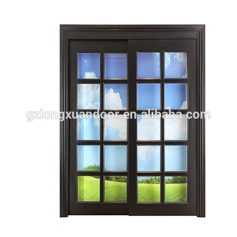 patio wooden frame sliding open double leaf beveled glass door with tempered glass on China WDMA