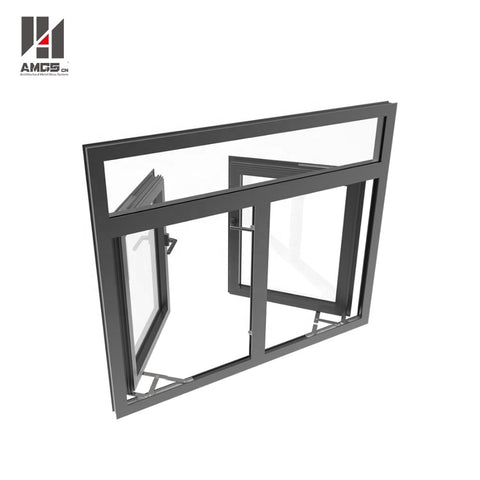 philippines price double glazing black aluminum framed glass casement window on China WDMA