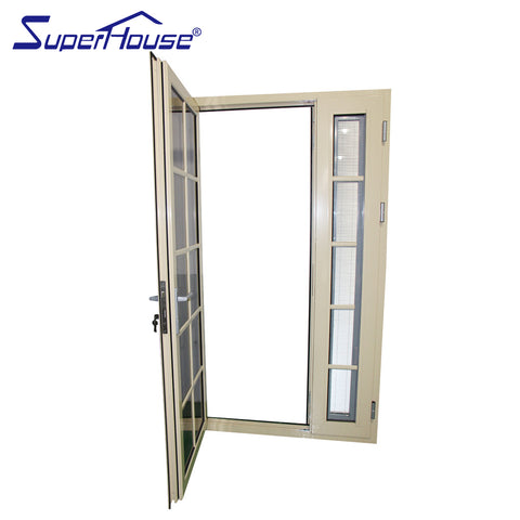 soundproof aluminium french patio doors double glazed colonial style on China WDMA