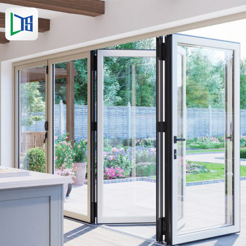 soundproof interior ffolding glass bifold french bi fold doors aluminum aluminium alloy folding door for restaurant on China WDMA