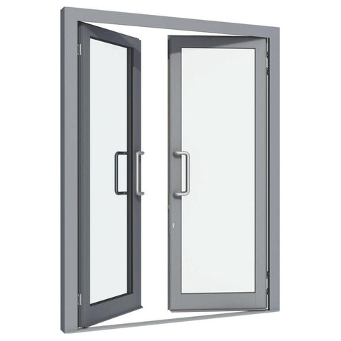 standard commercial double glass french aluminum casement door with German hardware on China WDMA