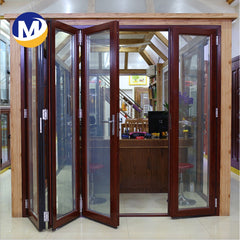 thermal break double Glass Patio Accordion Aluminum alloy frame Folding Door With Insect Screen on China WDMA