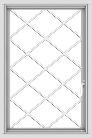 WDMA 24x36 (24.5 x 36.5 inch) White uPVC/Vinyl Push out Casement Window with Diamond Grids