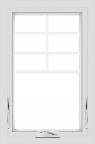 WDMA 24x36 (23.5 x 35.5 inch) White aluminum Crank out Awning Window with Top Colonial Grids