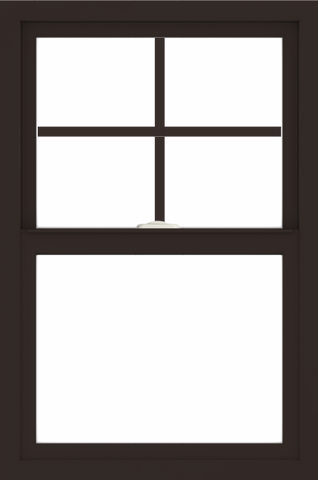 WDMA 24x36 (23.5 x 35.5 inch) Dark Bronze aluminum Single and Double Hung Window with Top Colonial Grids