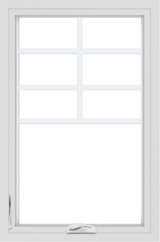 WDMA 24x36 (24.5 x 36.5 inch) White uPVC/Vinyl Crank out Casement Window with Top Colonial Grids