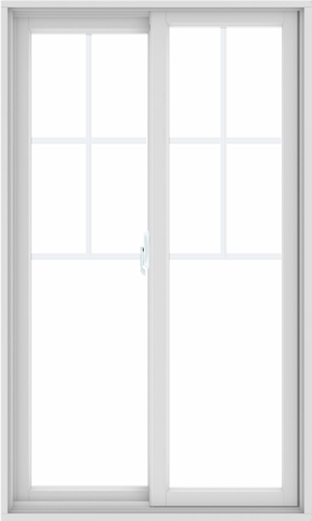 WDMA 36X60 (35.5 x 59.5 inch) White uPVC/Vinyl Sliding Window with Top Colonial Grids Grilles