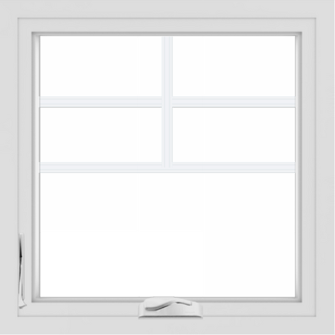 WDMA 24x24 (23.5 x 23.5 inch) White Aluminum Crank out Casement Window with Top Colonial Grids