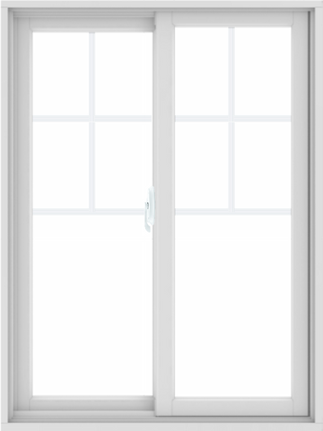 WDMA 36X48 (35.5 x 47.5 inch) White uPVC/Vinyl Sliding Window with Top Colonial Grids Grilles